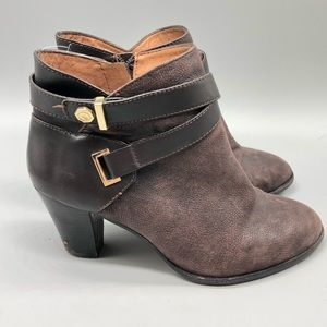 Louise et Cie brown ankle strap leather booties
